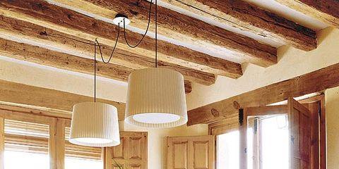Wood, Room, Interior design, Furniture, Table, Floor, Ceiling, Glass, Light fixture, Hardwood,