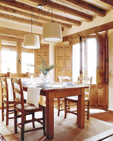 Wood, Room, Interior design, Furniture, Table, Floor, Ceiling, Glass, Light fixture, Hardwood,