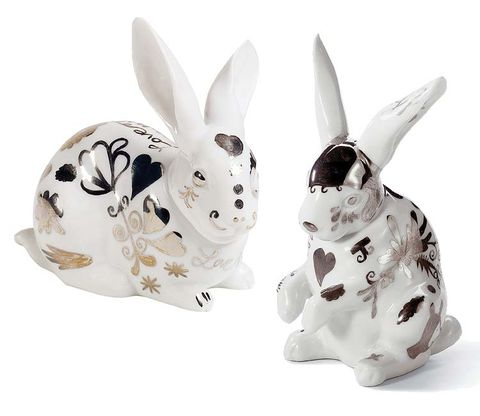 White, Style, Rabbits and Hares, Rabbit, Domestic rabbit, Toy, Hare, Easter, Animal figure, Easter bunny,