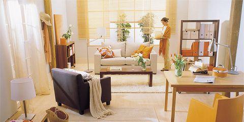 Room, Interior design, Floor, Flooring, Furniture, Interior design, Home, Living room, Table, Lamp,