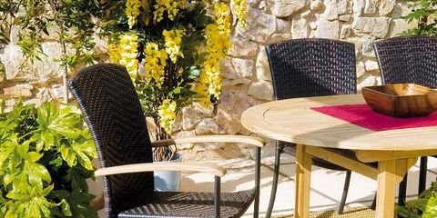 Table, Furniture, Outdoor furniture, Basket, Outdoor table, Coffee table, Bowl, Armrest, Wicker, Flowerpot,