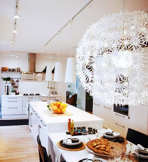 Room, Interior design, Cuisine, White, Home, Interior design, Cabinetry, Cupboard, Light fixture, Dining room,