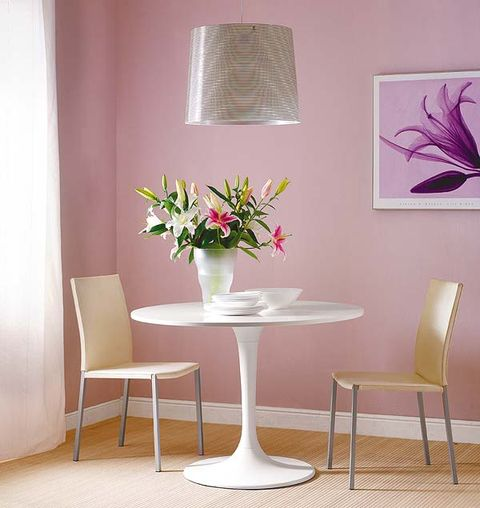 Room, Interior design, Furniture, Floor, Table, Flooring, Wall, Petal, Pink, Interior design,