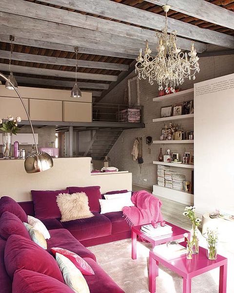 Room, Interior design, Wall, Living room, Ceiling, Floor, Home, Light fixture, Pink, Interior design,