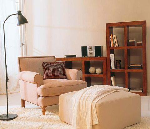 Wood, Room, Interior design, Floor, Wall, Flooring, Furniture, Shelf, Lamp, Pillow,