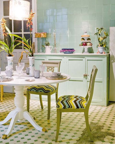 Yellow, Interior design, Room, Furniture, Floor, Flooring, Table, Interior design, Lavender, Home,