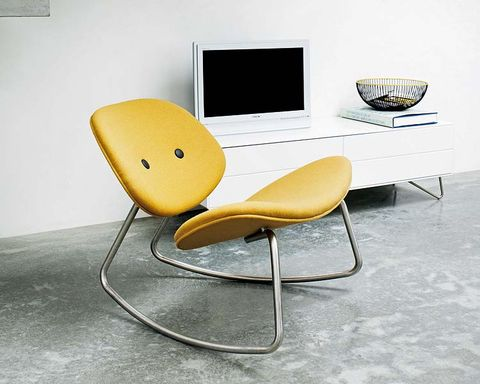 Product, Yellow, Floor, Furniture, Display device, Chair, Computer monitor accessory, Computer monitor, Output device, Plywood,