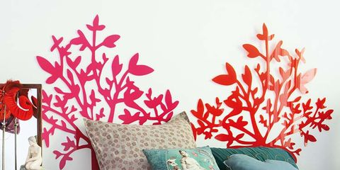 Room, Textile, Wall, Furniture, Red, Linens, Bedding, Interior design, Bedroom, Pillow,