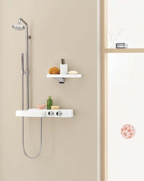 Product, Wall, Fixture, Household hardware, Household supply, Handle, Shelving, Door handle, Bathroom accessory, Aluminium,