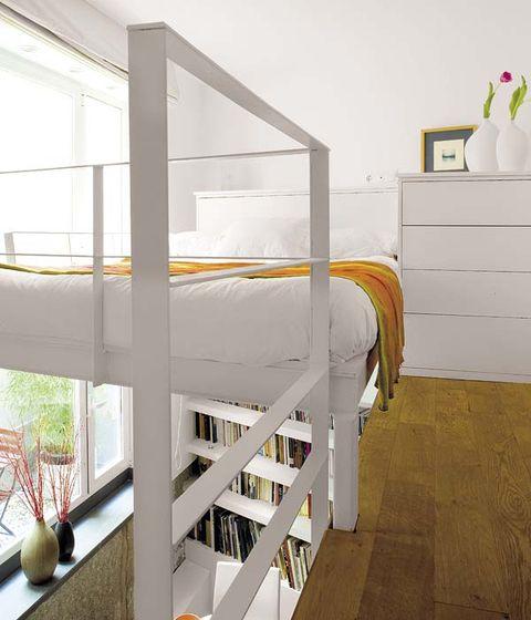Product, Room, Interior design, Bed, Bed frame, Bedding, Linens, Grey, Wood flooring, Bunk bed,