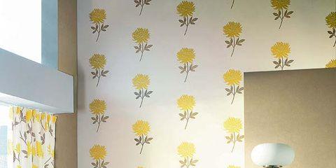 Room, Interior design, Yellow, Textile, Wall, Lampshade, Floor, Lamp, Interior design, Furniture,