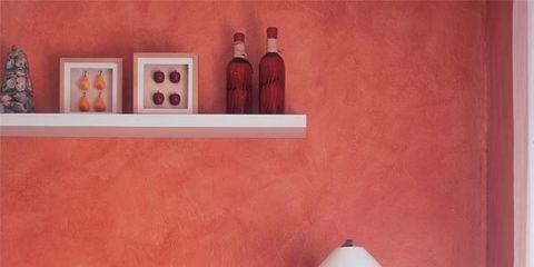 Room, Interior design, Wall, Textile, Furniture, Orange, Home, Linens, Interior design, Lamp,