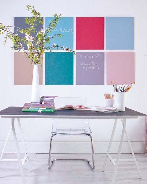 Room, Table, Furniture, Interior design, Desk, Rectangle, Design, Writing desk, Plywood, Square,