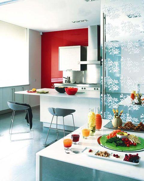 Room, Interior design, Floor, Furniture, Table, Orange, Dishware, Interior design, Grey, Meal,