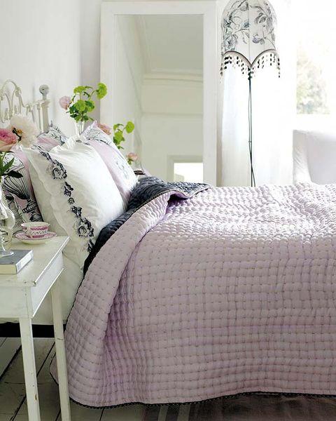 Room, Textile, Bed, Interior design, Bedding, Linens, Furniture, Bedroom, Bed sheet, Grey,