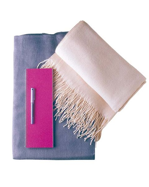 Textile, Brush, Purple, Violet, Costume accessory, Household supply, Beige, Rectangle, Natural material, Home accessories,