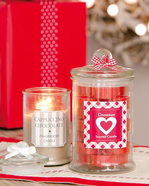Red, Present, Cylinder, Curtain, Food storage containers, Tin, Christmas, Candle, Candle holder, Mason jar,