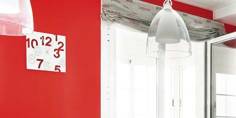 Room, Interior design, Red, Table, Display device, Furniture, Interior design, Flat panel display, Light fixture, Television accessory,