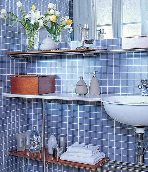 Blue, Room, Plumbing fixture, Interior design, Tile, Wall, Purple, Glass, Ceramic, Interior design,