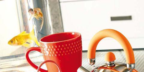 Serveware, Drinkware, Dishware, Cup, Tableware, Stovetop kettle, Orange, Mug, Coffee cup, Teacup,