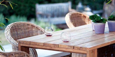 Wood, Furniture, Table, Outdoor furniture, Hardwood, Outdoor table, Flowerpot, Wicker, Houseplant, Coffee table,