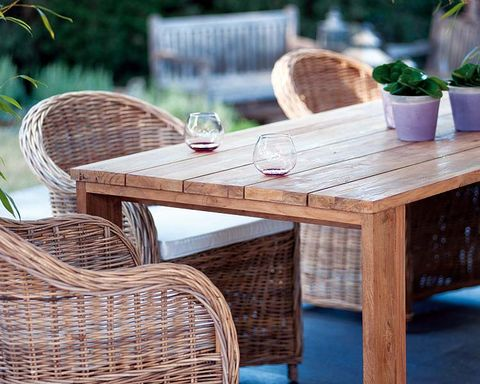 Wood, Furniture, Table, Outdoor furniture, Hardwood, Outdoor table, Flowerpot, Wicker, Houseplant, Coffee table,