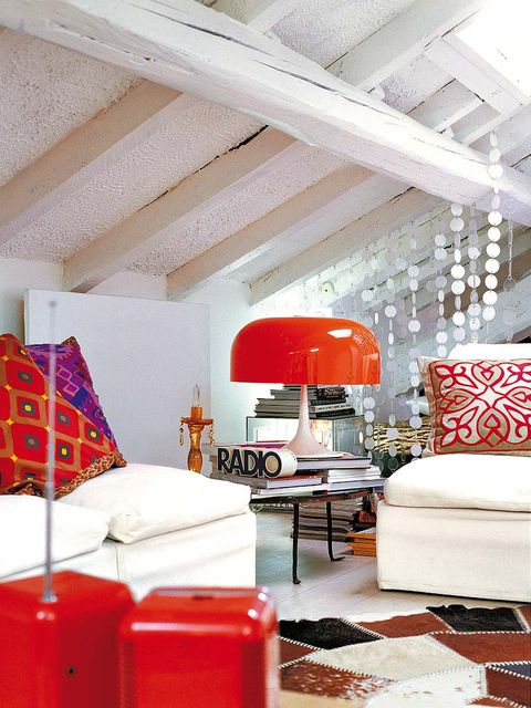 Interior design, Room, Floor, Furniture, Red, Living room, Wall, Ceiling, Home, Interior design,