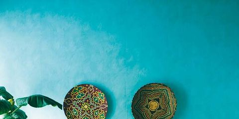 Room, Green, Interior design, Teal, Turquoise, Linens, Aqua, Bedding, Lamp, Bedroom,