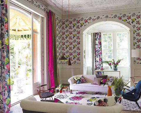 Interior design, Room, Purple, Textile, Furniture, Wall, Pink, Home, Interior design, Ceiling,