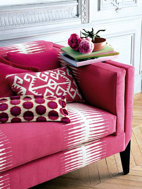 Room, Red, Magenta, Cushion, Pink, Purple, Pillow, Furniture, Throw pillow, Door,
