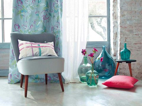 Room, Interior design, Green, Textile, Furniture, Pink, Teal, Wall, Interior design, Floor,