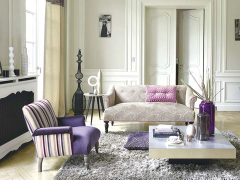 Room, Interior design, Home, Living room, Floor, Furniture, Purple, Flooring, Wall, Table,