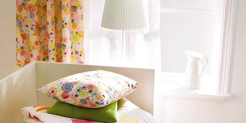 Yellow, Room, Interior design, Textile, Linens, Bedding, Cushion, Wall, Bedroom, Interior design,