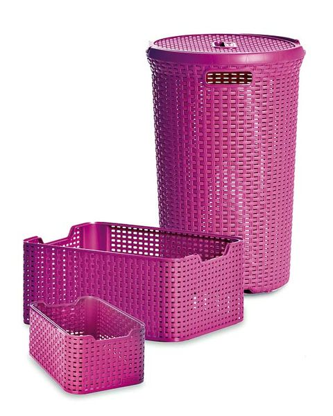 Magenta, Pink, Purple, Violet, Maroon, Wicker, Laundry basket, Home accessories, Cylinder, Plastic,