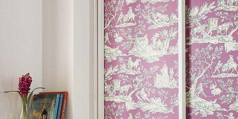 Textile, Interior design, Purple, Pink, Magenta, Interior design, Pattern, Maroon, Violet, Shelving,