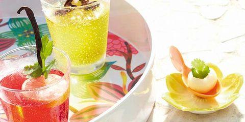 Yellow, Serveware, Food, Ingredient, Juice, Dishware, Drink, Fruit, Tableware, Cocktail,
