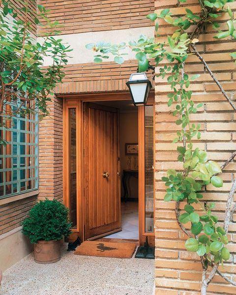 Wood, Brick, Door, House, Hardwood, Home door, Fixture, Flowerpot, Wood stain, Light fixture,