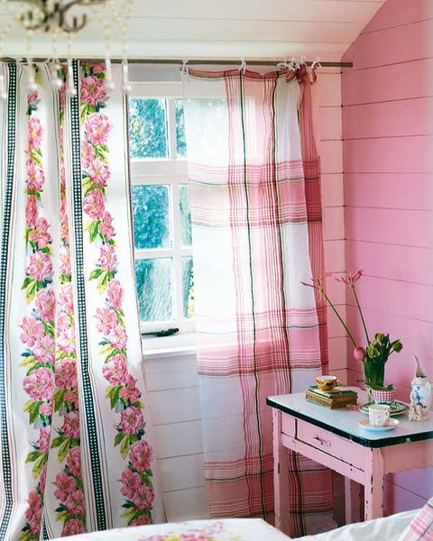 Curtain, Window treatment, Interior design, Pink, Room, Textile, Window, Furniture, Window covering, Interior design,