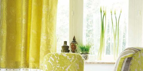 Green, Yellow, Room, Interior design, Furniture, Interior design, Curtain, Window treatment, Lamp, Wallpaper,