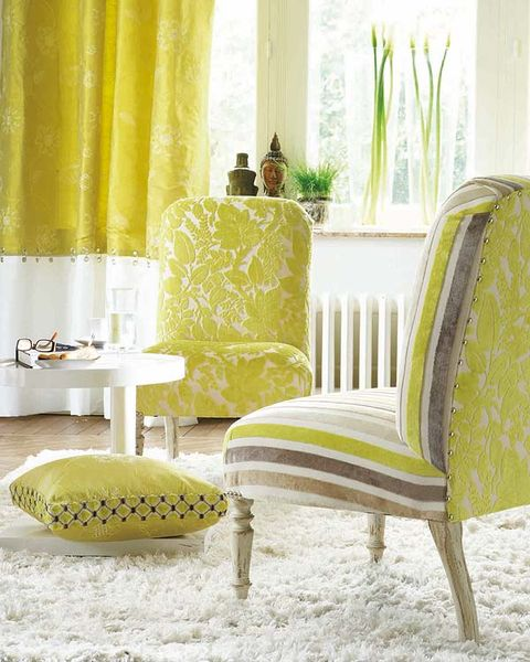 Green, Yellow, Room, Interior design, Furniture, Interior design, Curtain, Window treatment, Lamp, Wallpaper,