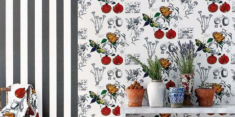 Textile, Flower, Flowerpot, Orange, Pattern, Interior design, Botany, Creative arts, Flowering plant, Floral design,