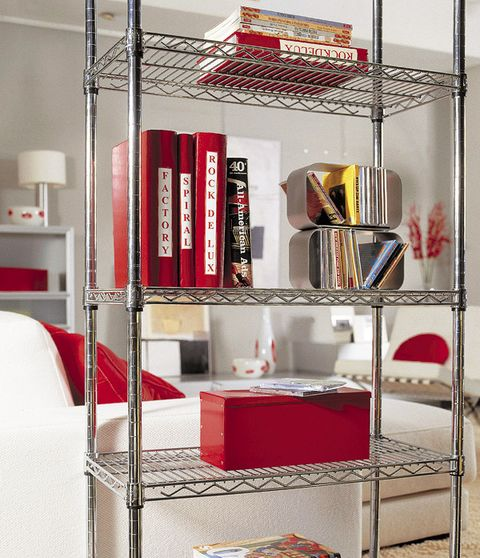 Room, Red, Shelving, Interior design, Linens, Bedding, Bed, Shelf, Bedroom, Bed sheet,