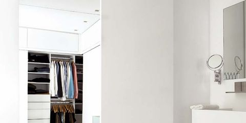 Room, Interior design, Wall, Grey, Interior design, Shelving, Wardrobe, Closet, Silver, Shelf,