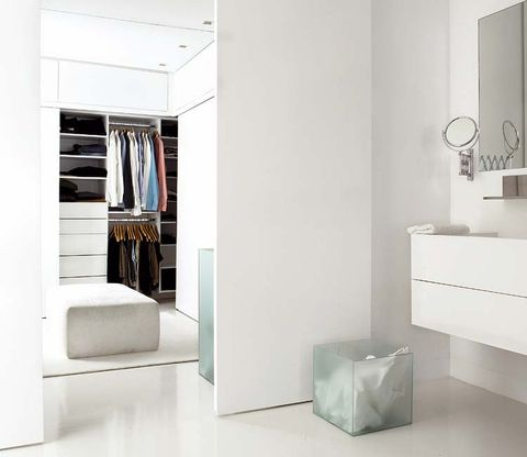Room, Interior design, Wall, Grey, Interior design, Shelving, Wardrobe, Closet, Silver, Shelf,