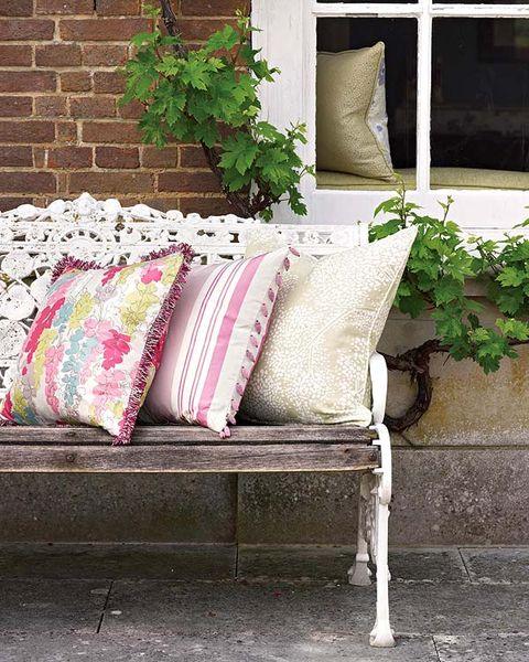 Green, Throw pillow, Furniture, Pillow, Cushion, Wall, Interior design, Home, Brick, Interior design,