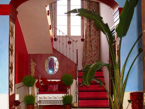 Property, Red, Interior design, Real estate, Flowerpot, Hacienda, Houseplant, Arch, Coquelicot, Stairs,