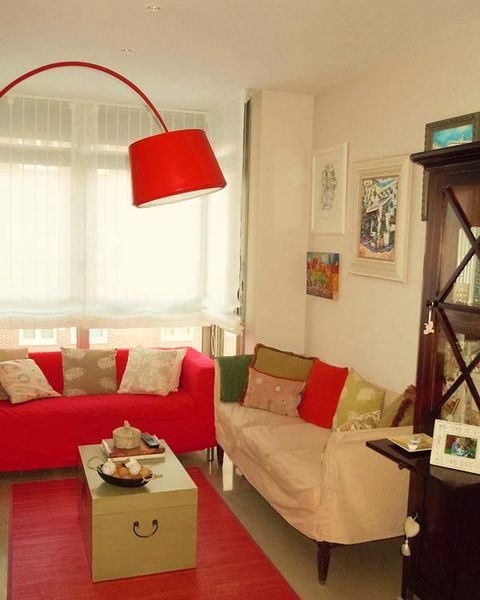 Room, Interior design, Wood, Wall, Living room, Home, Red, Couch, Interior design, Furniture,