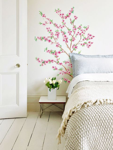 White, Pink, Room, Wall, Furniture, Wall sticker, Plant, Flower, Wallpaper, Interior design,