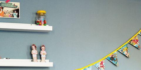Room, Toy, Pink, Wall, Interior design, Interior design, Home accessories, Shelving, Shelf, Decoration,