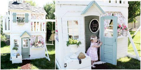 Green, Dress, Pink, House, Petal, Lavender, Home, Door, Design, One-piece garment,